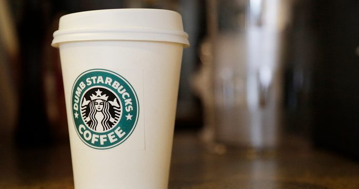 LOS ANGELES, CA - FEBRUARY 10: A coffee cup is shown at Dumb Starbucks in the Los Feliz neighborhood on February 10, 2014 in Los Angeles, California. The new shop, which bills itself as a parody of the iconic coffee chain, opened recently offering all of its items for free. The real Starbucks says it is reviewing its options, according to published reports. (Photo by Dan R. Krauss/Getty Images)
