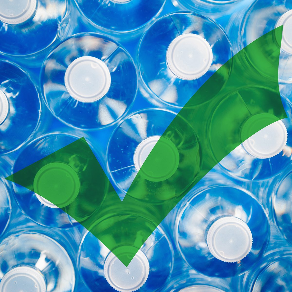 Top view of water bottles with a green check mark
