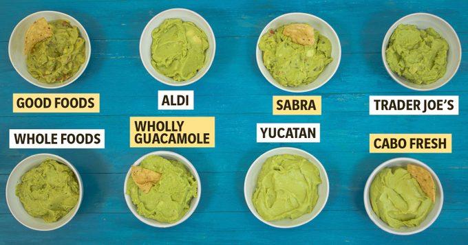 Best guacamole brands in a taste test, labeled in bowls