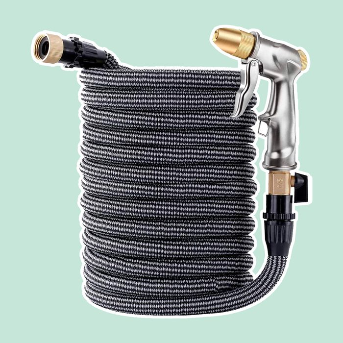 """ESOW Garden Collapsible Hose(50ft)+Heavy Duty Metal Garden Hose Nozzle,Leakproof Lightweight Expandable Garden Water Hose with 3/4"""" Solid Brass Fittings,High Pressure Pistol Grip Sprayer for Watering"""