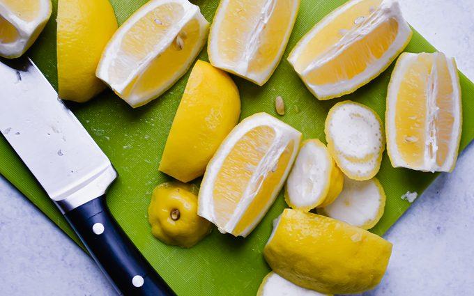 Cut lemons close up