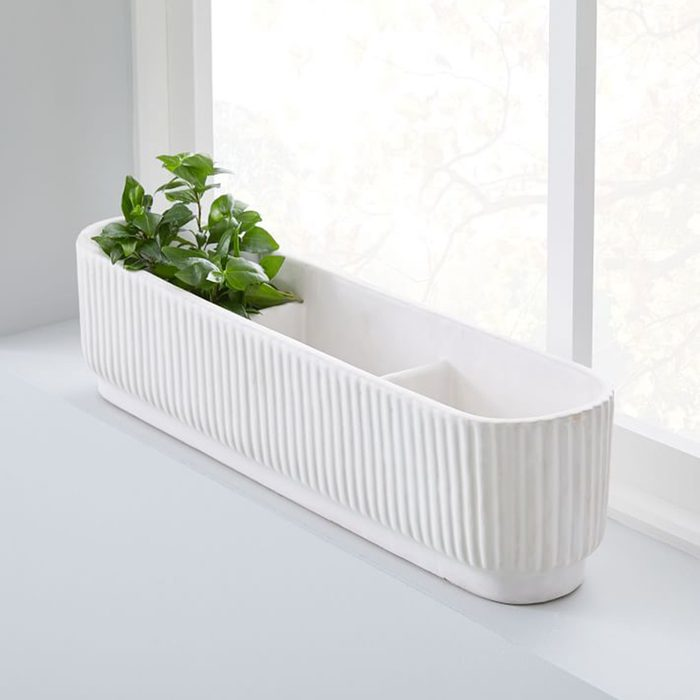 Fluted Windowsill Planter - White