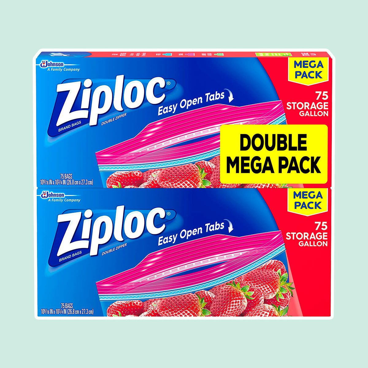 Ziploc Storage Bags, For Food, Sandwich, Organization and More, Smart Zipper Plus Seal, Gallon, 75 Count, Pack of 2, (150 Total Bags)