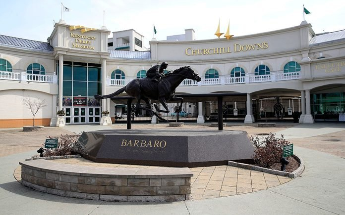 LOUISVILLE, KENTUCKY - MARCH 17: Churchill Downs sits mostly empty following the announcement that the 146th Kentucky Derby will be postponed until September 5th due to the Coronavirus on March 17, 2020 in Louisville, Kentucky. Because of the concern of (COVID-19) It is the first time since 1945 that the Kentucky Derby has not been held on the first Saturday in May. (Photo by Andy Lyons/Getty Images)