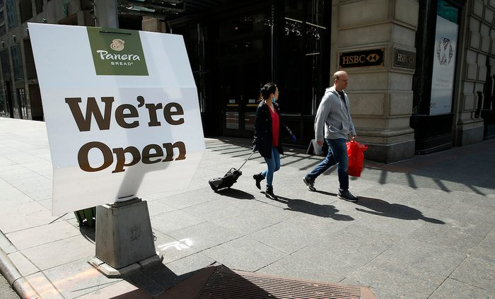 NEW YORK, NY - APRIL 05: A Panera Bread shop displays a sign they are open amid the coronavirus pandemic on April 5, 2020 in New York City. COVID-19 has spread to most countries around the world, claiming nearly 70,000 lives with infections nearing 1.3 million people. (Photo by )