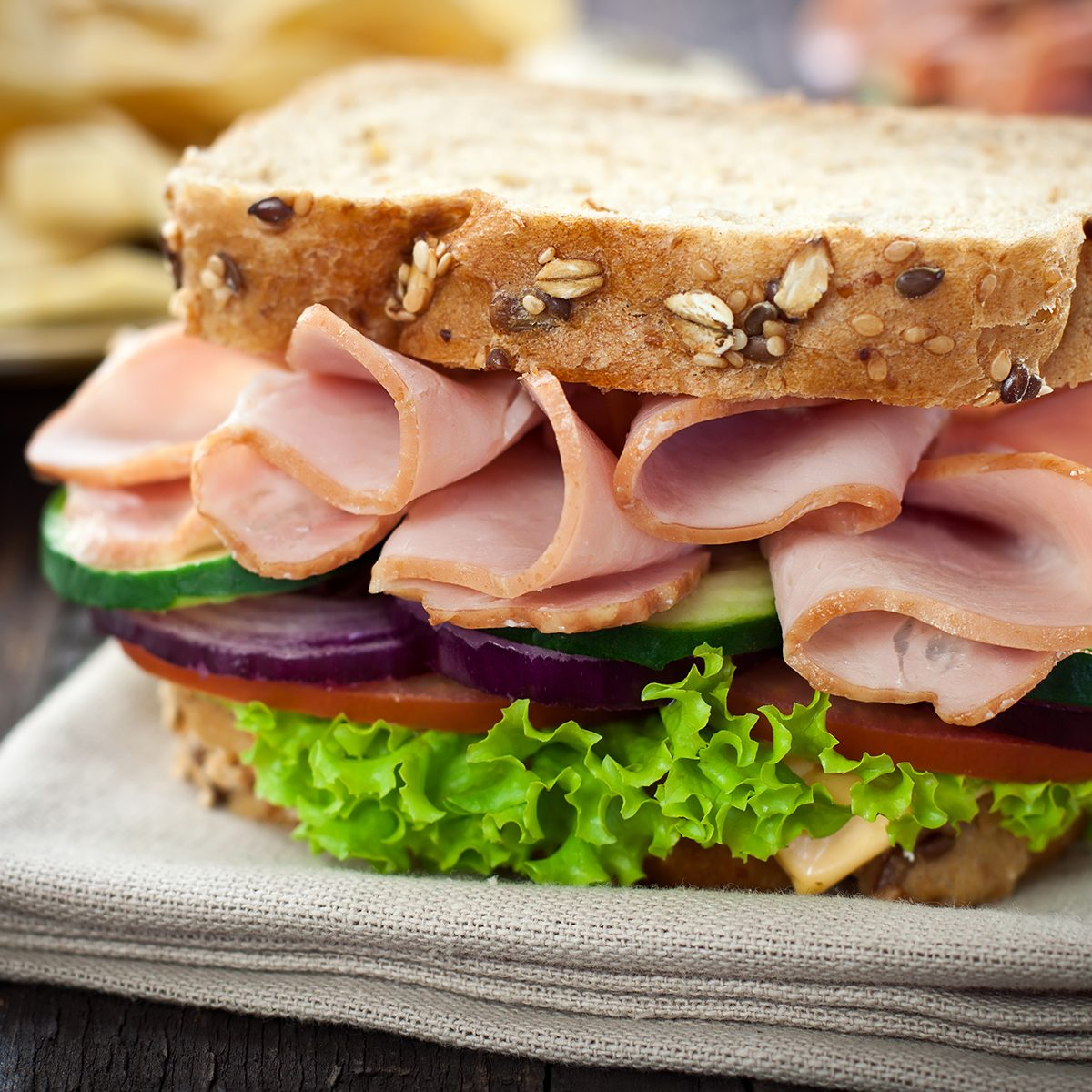 Ham and Cheese Sandwich with Lettuce,Cucumber and red onion