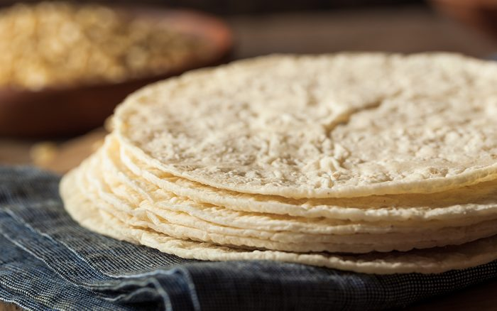 Homemade White Corn Tortillas in a Stack