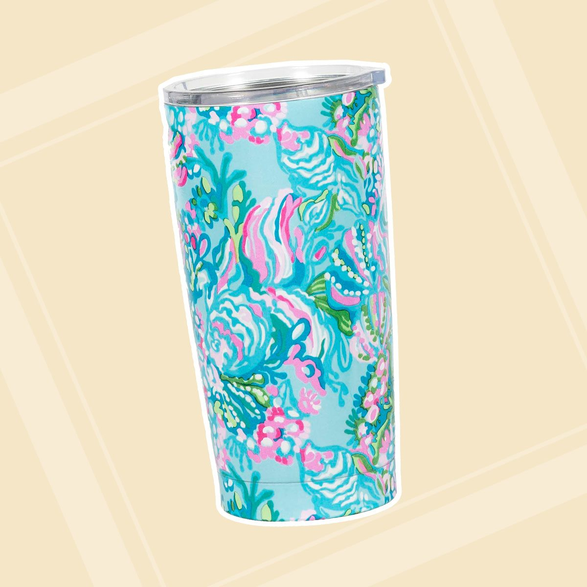 Lilly Pulitzer 20 Ounce Insulated Tumbler with Lid, Blue Stainless Steel Travel Cup, Aqua La Vista