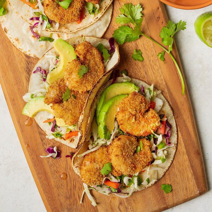 Popcorn Shrimp Tacos with Cabbage Slaw
