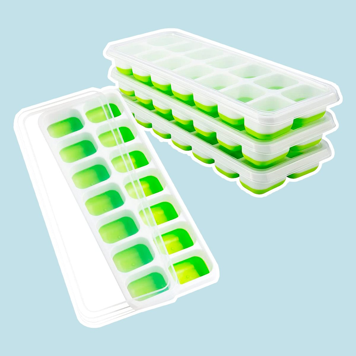 OMorc Ice Cube Trays 4 Pack, Easy-Release Silicone and Flexible 14-Ice Trays with Spill-Resistant Removable Lid
