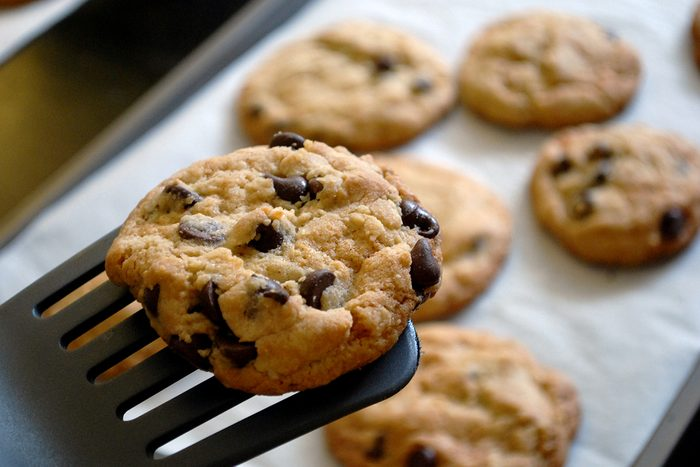 homemade chocolate chip cookies fresh from the oven.