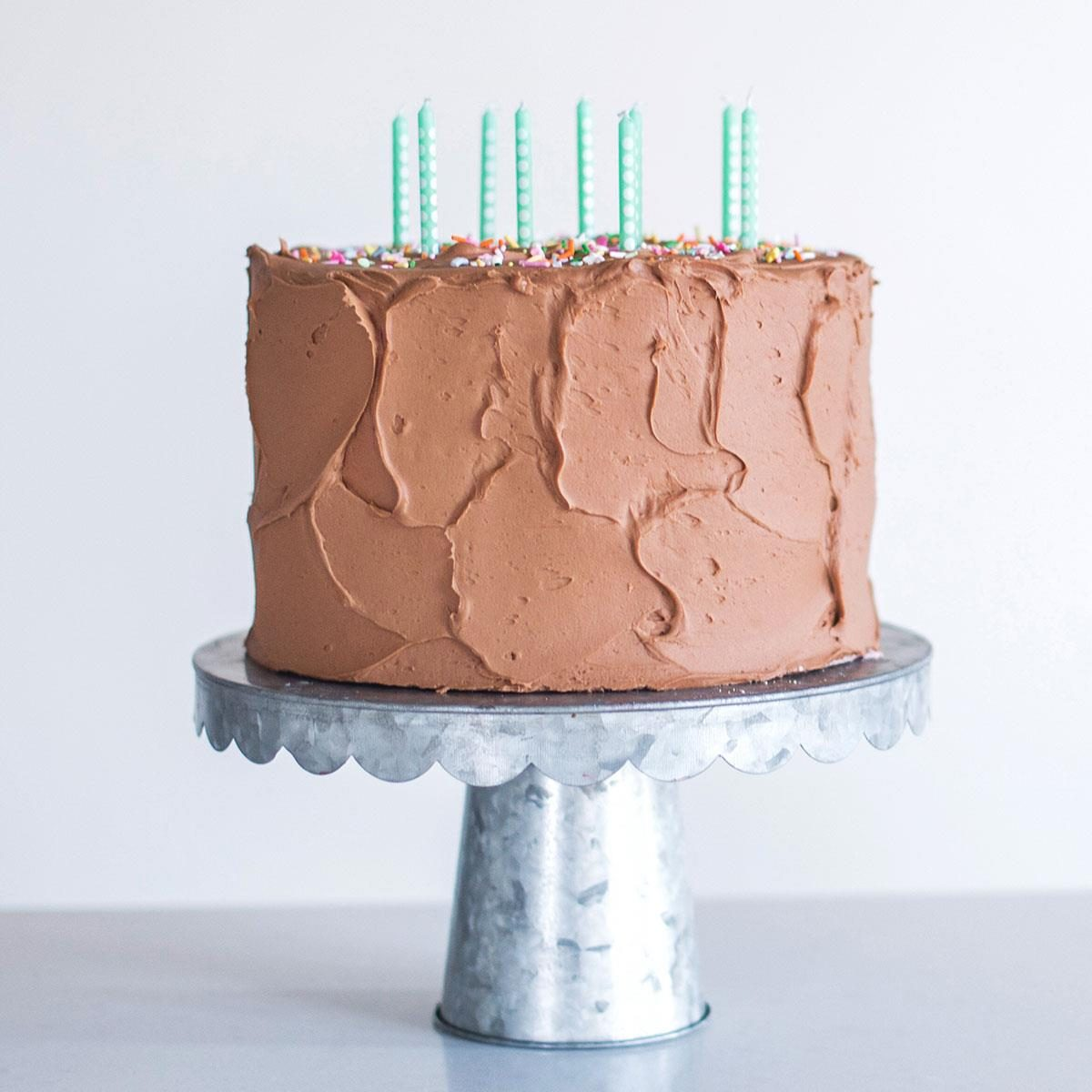 Confetti Birthday Cake with Chocolate Buttercream
