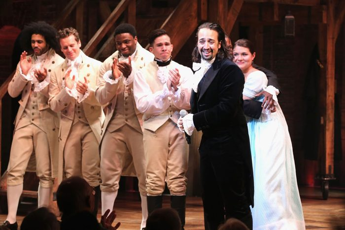 """NEW YORK, NY - AUGUST 06: Lin-Manuel Miranda performs at """"Hamilton"""" Broadway Opening Night at Richard Rodgers Theatre on August 6, 2015 in New York City. (Photo by Neilson Barnard/Getty Images)"""