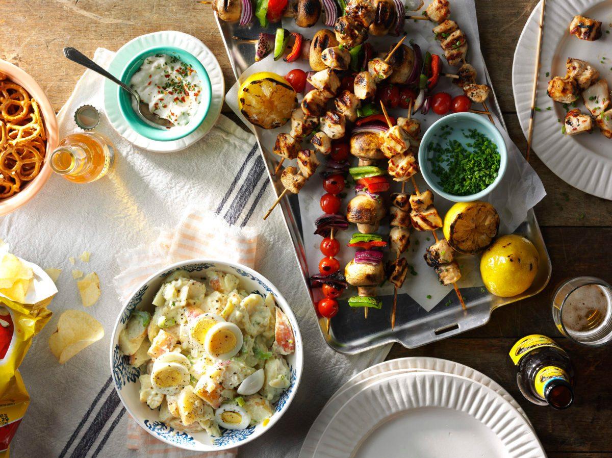 Grilled kabobs on platter