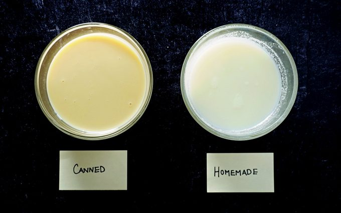 comparison photo of homemade and canned condensed milk in glass bowls