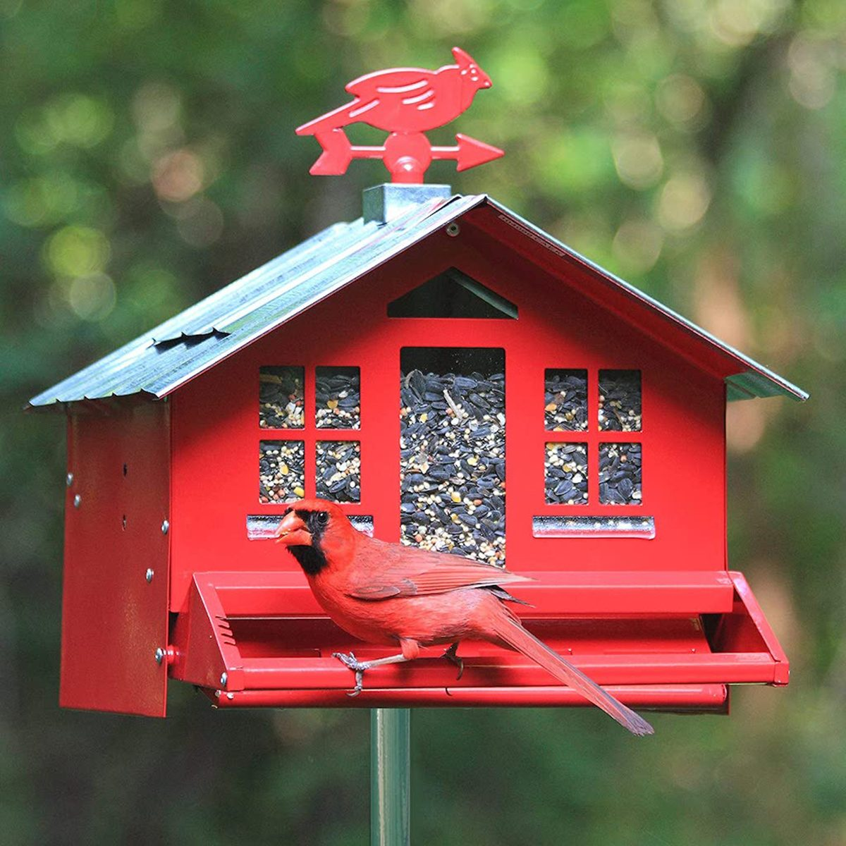 Bird feeder that looks like a red barn