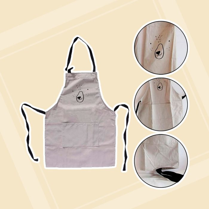 Cotton and Linen Parent Child Apron, Simple and Lovely Apron with Pocket for Painting and Cooking, Artist Apron & Chef Apron, Pack of 2 (Gray)
