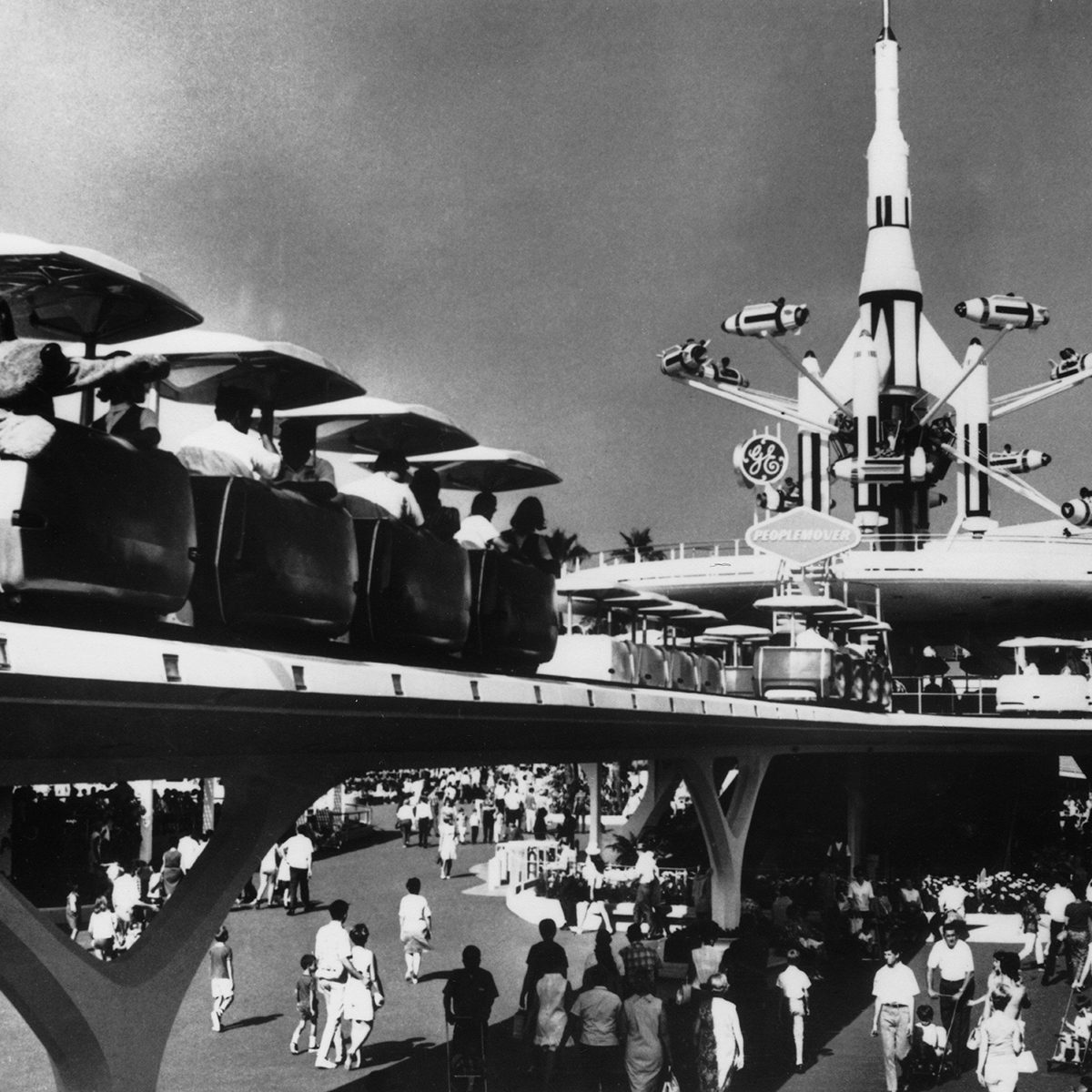 UNITED STATES - JANUARY 01: May 13, 1968 view of the California Disneyland, with its then-new PEOPLE MOVER ride in the background. (Photo by Keystone-France/Gamma-Keystone via Getty Images)