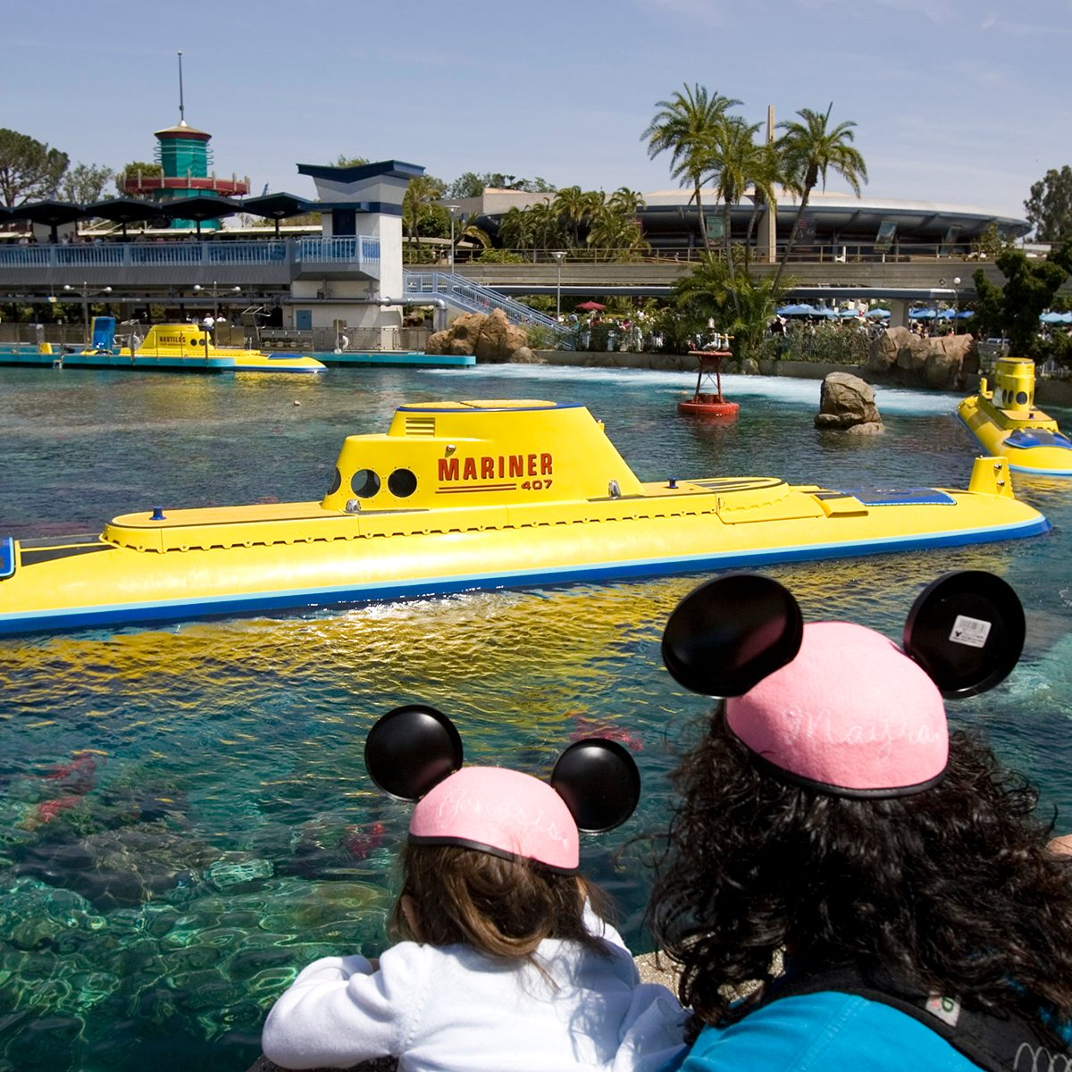 (Anaheim) – After being closed for nine years, the Disneyland submarines finally get a return voyage. With a new coating of exterior paint the attraction is now known at the Finding Nemo Submarine Voyage. The submarines are also environmentally friendly with new electric motors, replacing the old diesel engines. The view of the submarine lagoon you see the submarine port and the Monorail platform PHOTOGRAPHED TUESDAY JUNE 5, 2007 (Photo by Don Kelsen/Los Angeles Times via Getty Images)