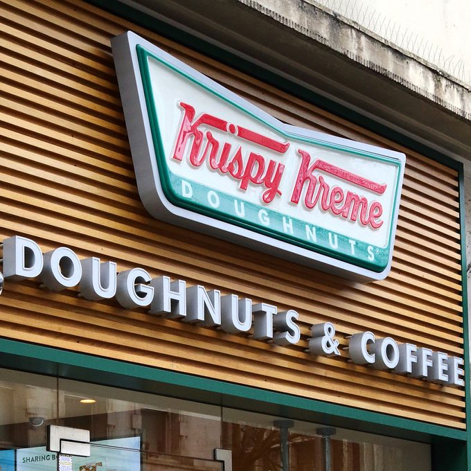 LONDON, -, UNITED KINGDOM - 2019/01/27: Krispy Kreme store and brand logo seen in London, UK. (Photo by Keith Mayhew/SOPA Images/LightRocket via Getty Images)
