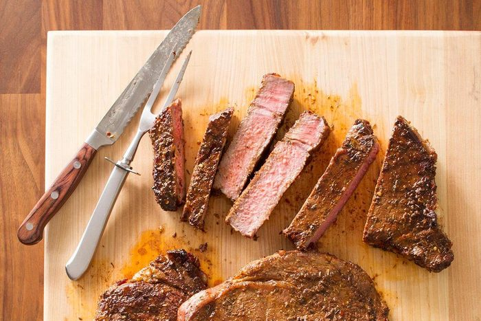 peppered ribeye grilled steaks