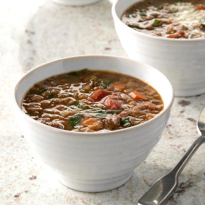 Pressure Cooker Lentil And Sausage Soup Exps Thcom19 233165 C01 18 3b 1