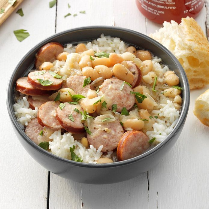 Pressure-Cooker Smoked Sausage and White Beans