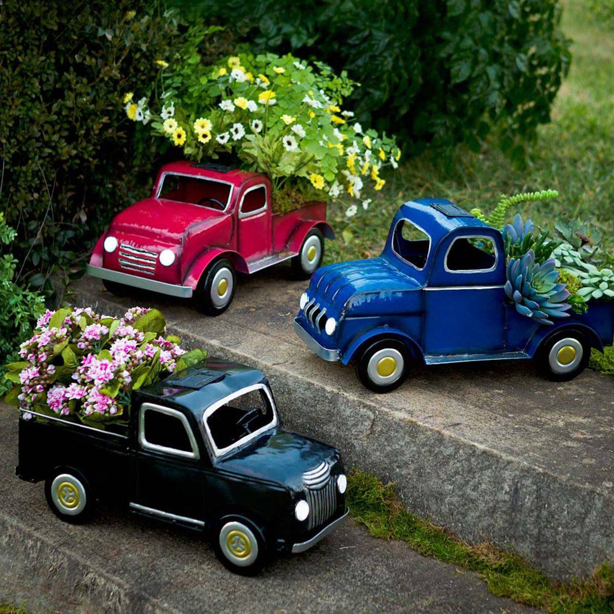 Vintage truck flower pot