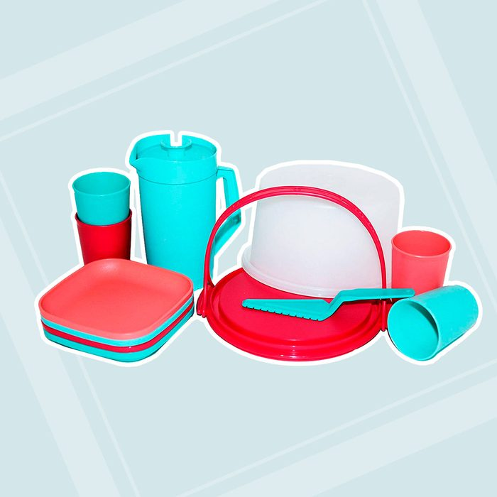 Tupperware 11 Piece Mini Party Play Set for Children Cake Taker, Pastry Server, 4 Cups, 4 Plates and Pitcher