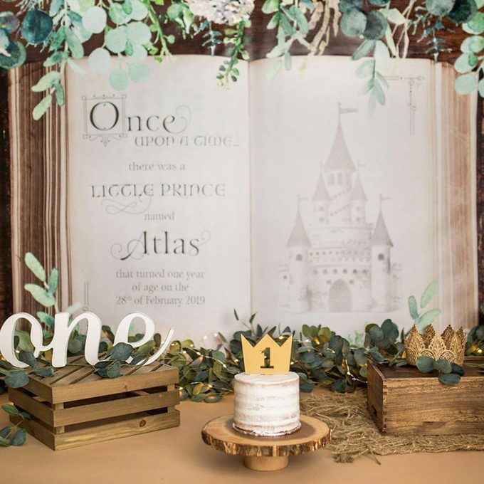 Cake Smash Birthday Backdrop Fairytale Boho Prince or Princess, Party Backdrop Birthday Decor, Personalized Book Backdrop (Item - RBK700)