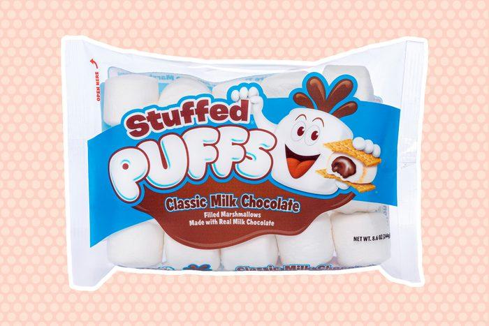 Stuffed Puffs Classic Milk Chocolate Vanilla marshmallows filled with real milk chocolate