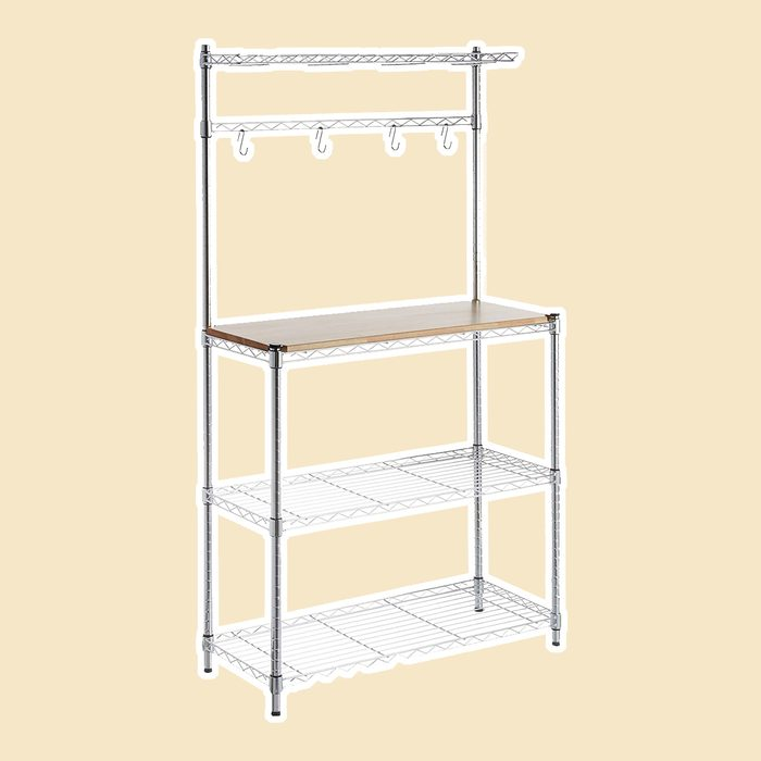 AmazonBasics Kitchen Storage Baker's Rack with Table