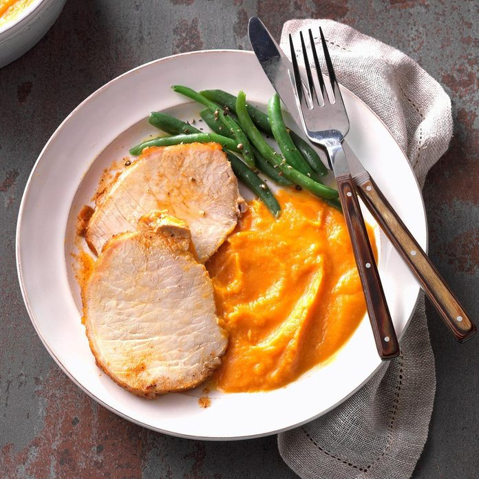 Day 1: Cajun Pork Loin with Sweet Potato Puree