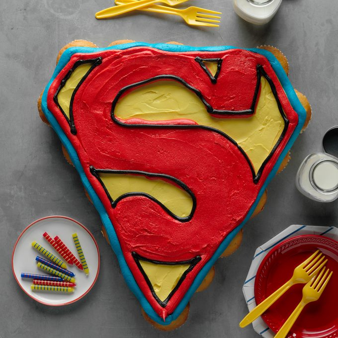 Superhero Birthday Party 256549 Superman Logo Cupcake Cake