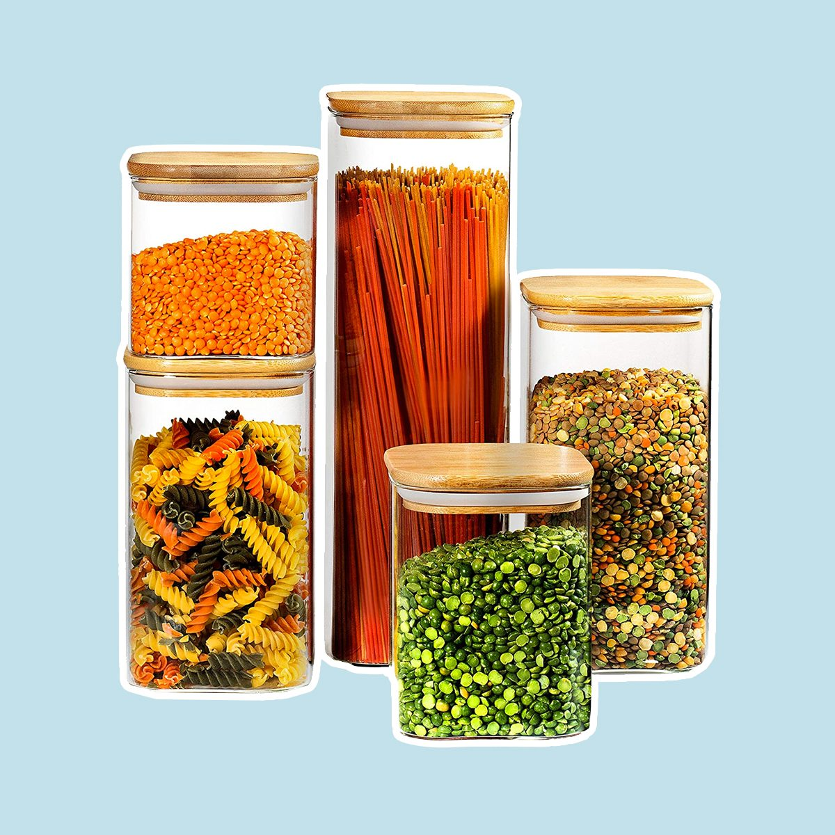 Glass Kitchen Canister with Airtight Bamboo Lid