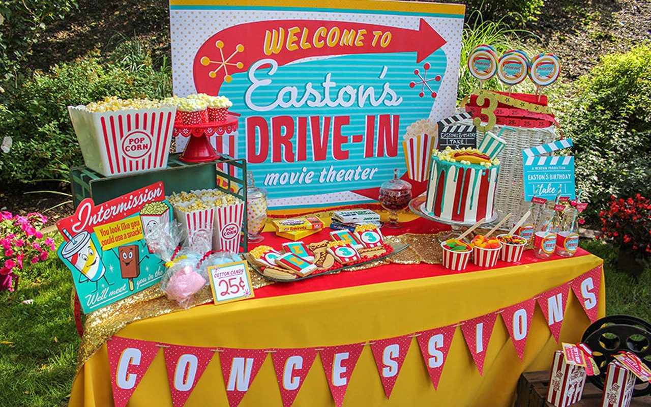Retro Drive-In Movie Party Backdrop Sign Printable - outdoor movie birthday party, drive-in movie party, kids birthday, movie night sign
