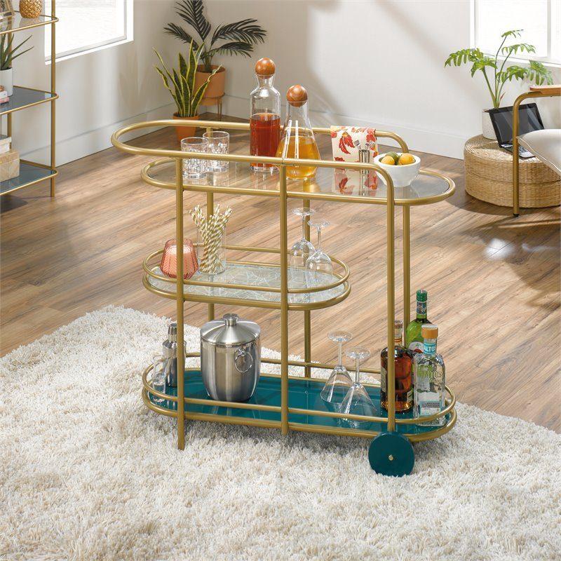 Sauder Coral Cape Modern 3-Shelf Glass and Metal Bar Cart in Satin Gold