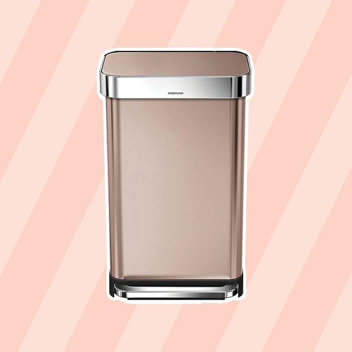 simplehuman® 45-Liter Rectangular Liner Rim Step Trash Can with Liner Pocket in Rose Gold