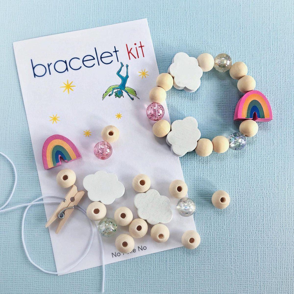 Kids party favor DIY bracelet kit girls birthday rainbow jewelry rainbow birthday party