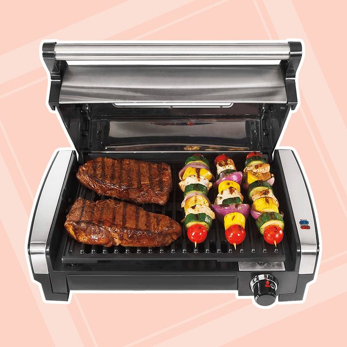 Hamilton Beach Electric Indoor Searing Grill with Viewing Window and Removable Easy-to-Clean Nonstick Plate, 6-Serving, Extra-Large Drip Tray, Stainless Steel (25361)