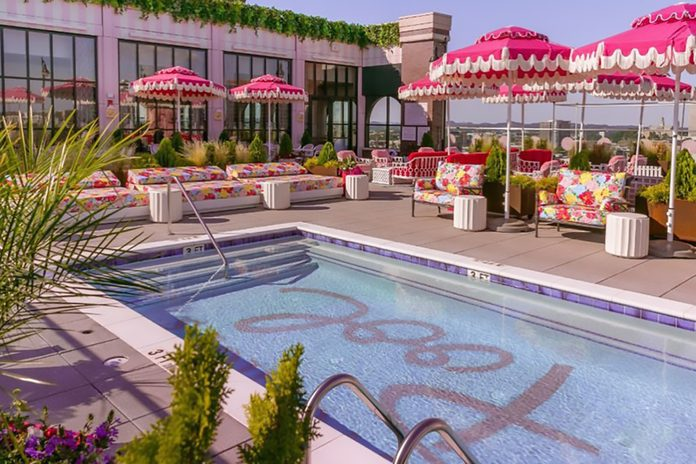 Dolly Parton inspired rooftop bar at White Limozeen Hotel in Nashville, Tennessee