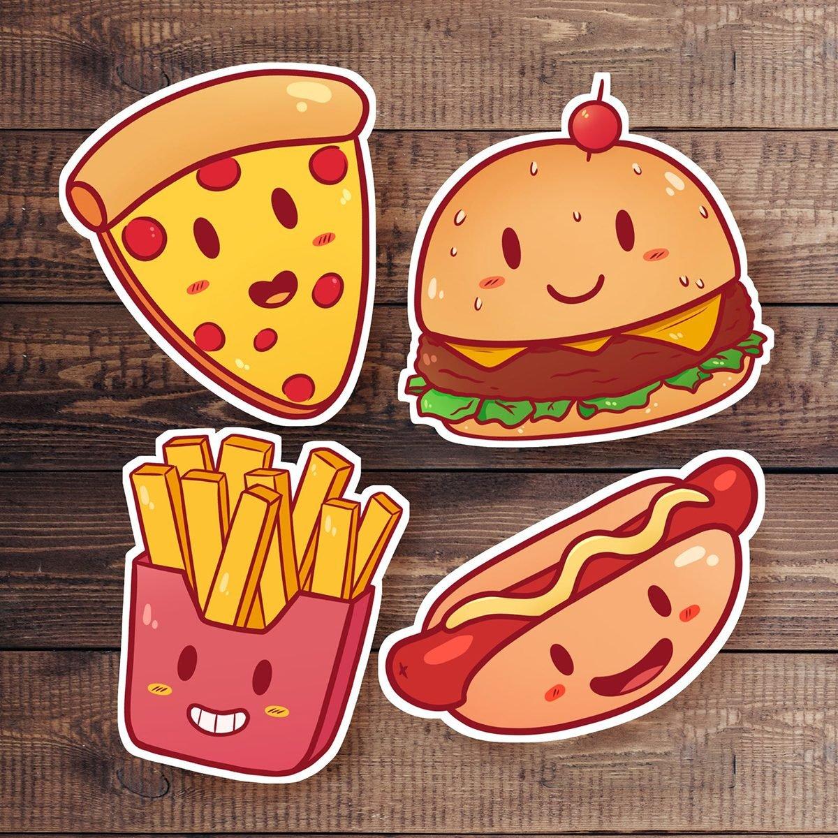Cute Fast Food Sticker Set | Cute stickers - Pizza - French Fries - Hamburger - Hotdog