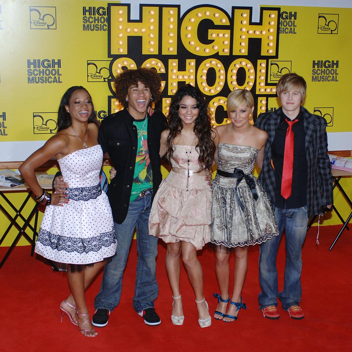 Monique Coleman,Corbin Bleu,Vanessa Hudgens, Ashley Tisdale and Lucas Grabeel attend the premiere of High School Musical at Empire,Leicester Square,London,UK (Photo by Rune Hellestad/Corbis via Getty Images)