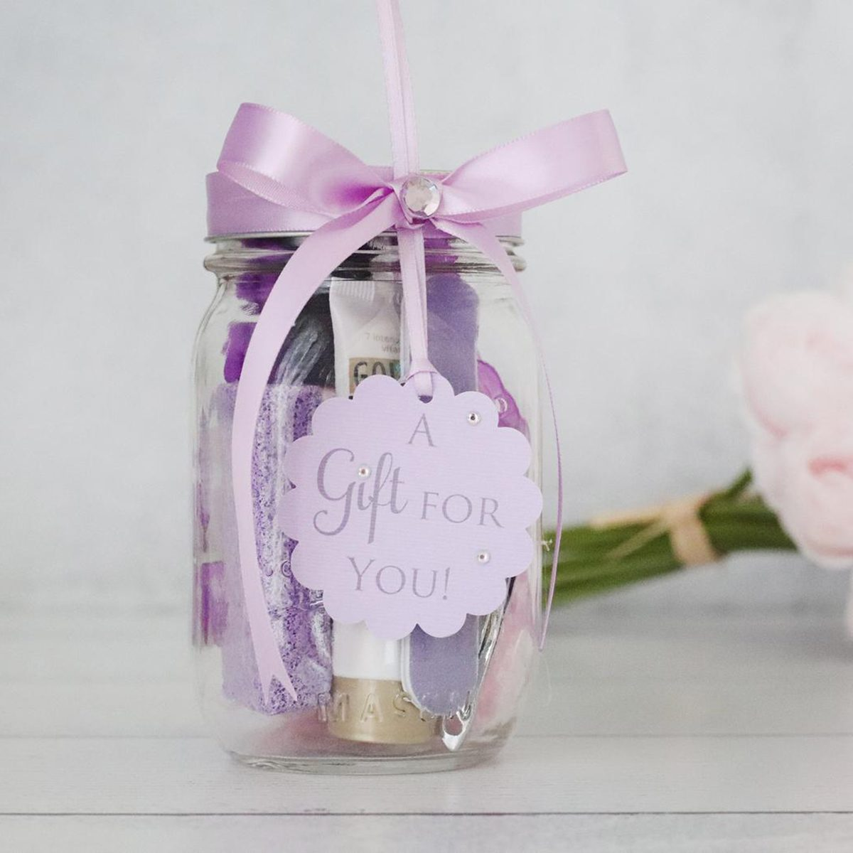 Manicure in a Mason Jar  Gifts in a Jar  Baby or Bridal Shower Prize  Teacher's Appreciation Gift