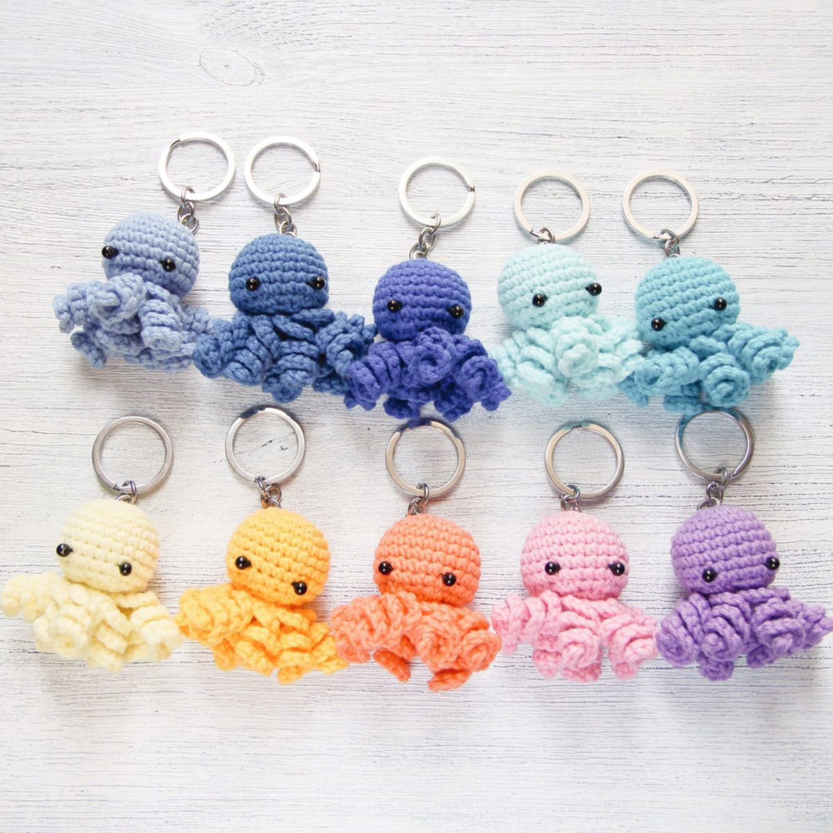 Crochet keychain octopus toy