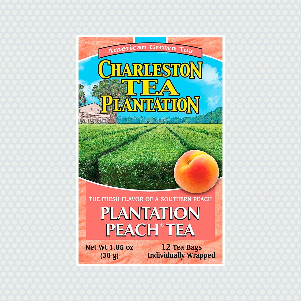 Charleston Tea Garden Pyramid Teabags, Plantation Peach, 12 Count