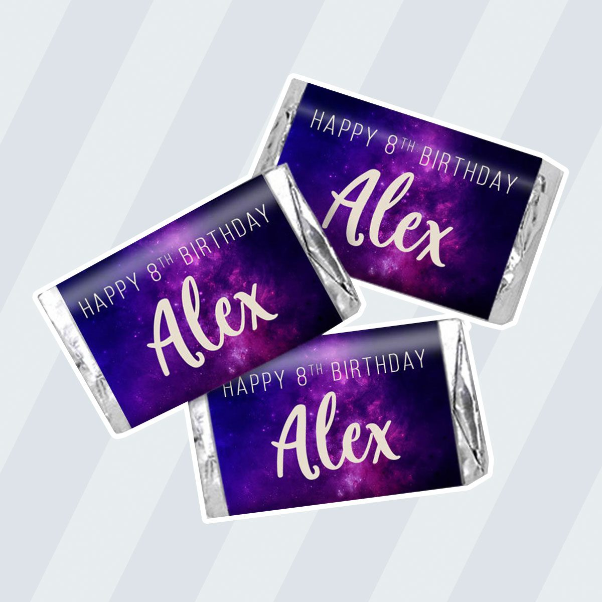 Purple Galaxy Birthday Personalized Miniature Candy Bar Wrapper Labels