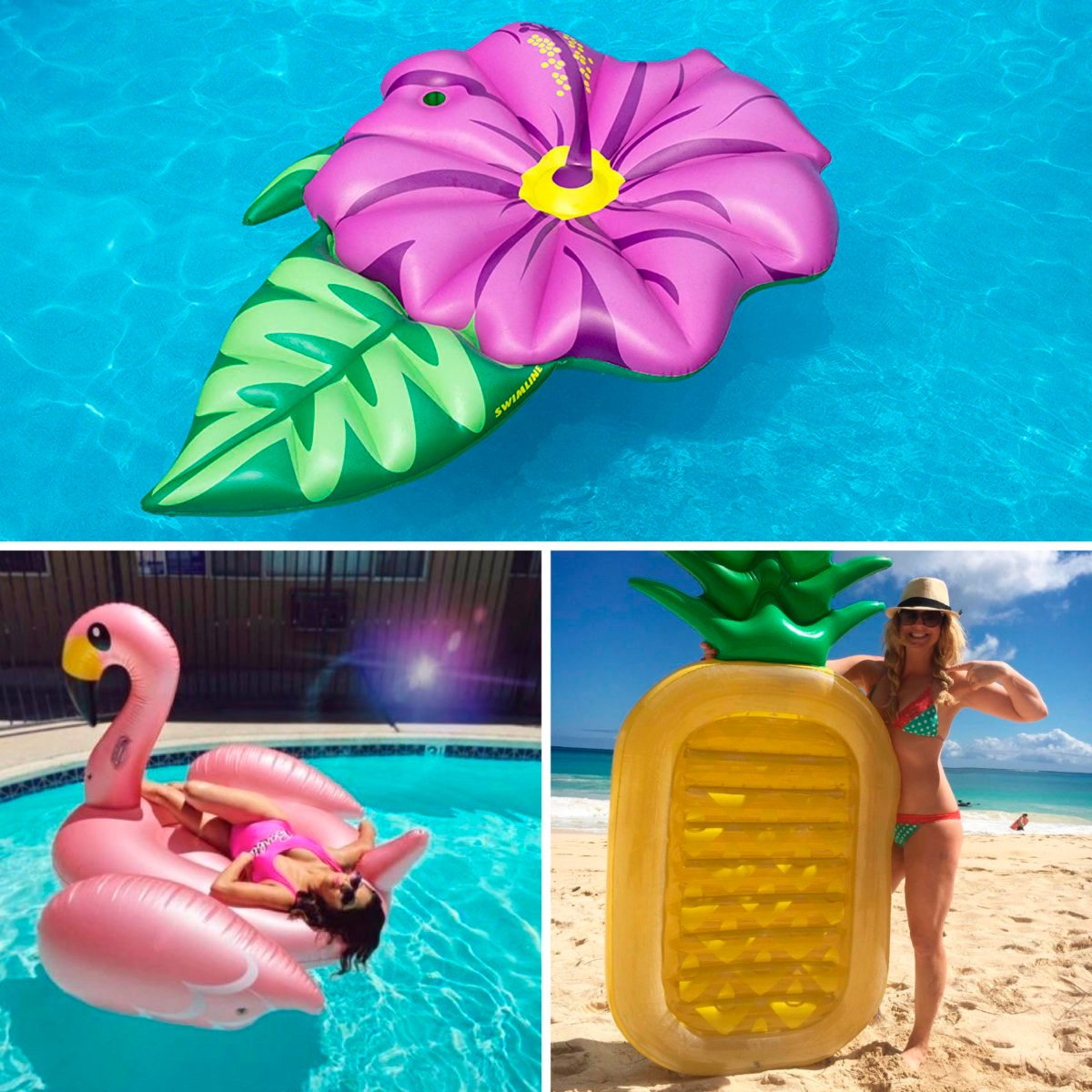 Collage of pool floats