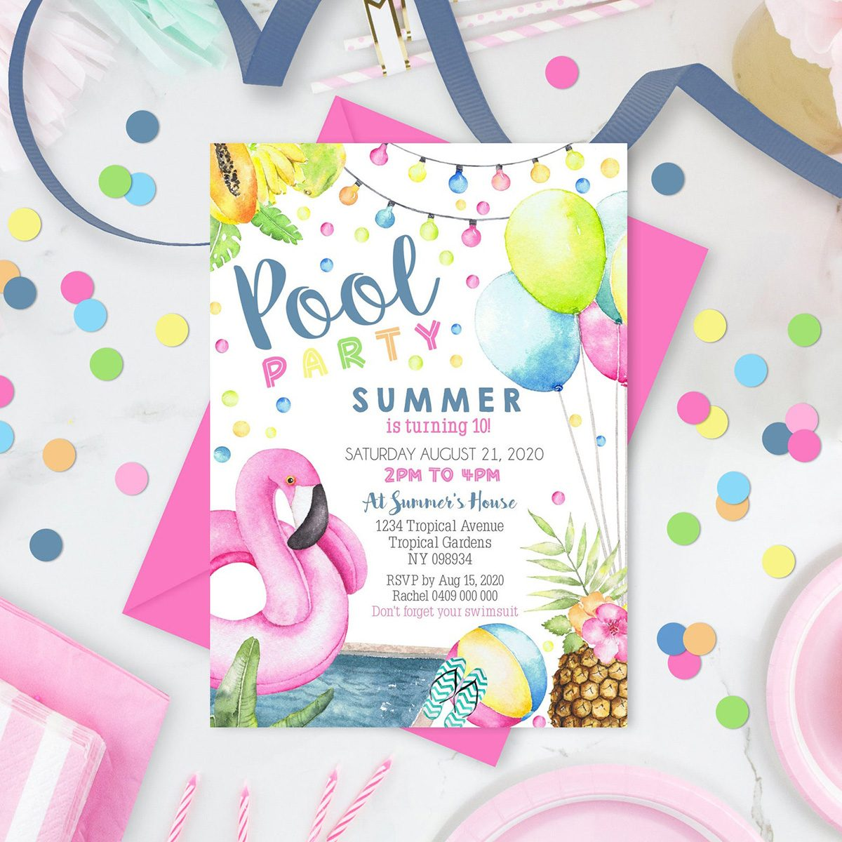 POOL PARTY Invitation Girl Pool Party Invitation Flamingo Pool Party Invitation Instant Download Pool Invitation Swim Party Girl Corjl 0274