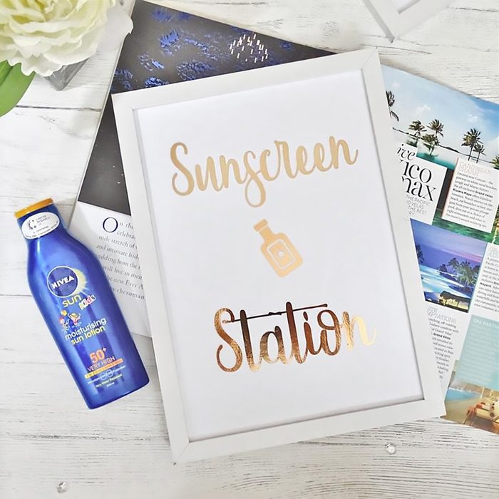 Sun station wedding foil print, custom foil poem, Personalised Foil Wedding sun station Sign